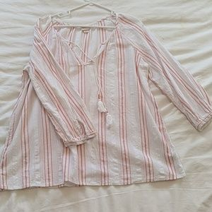 Striped 3/4 Sleeve Shirt, Size Large